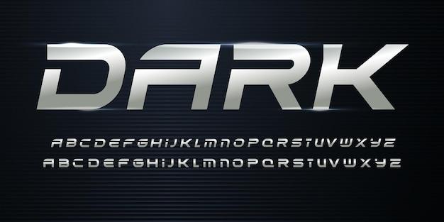 Alphabet de sport avec texture métallique. alphabet italique en acier chromé