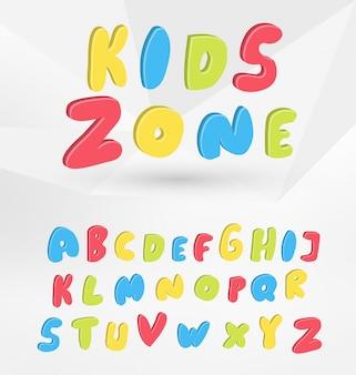 Alphabet de style coloré de bulle - conception de type enfants