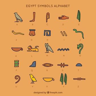 Alphabet de symboles de l'egypte