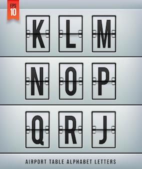 Alphabet de table d'arrivée de l'aéroport. illlustration.