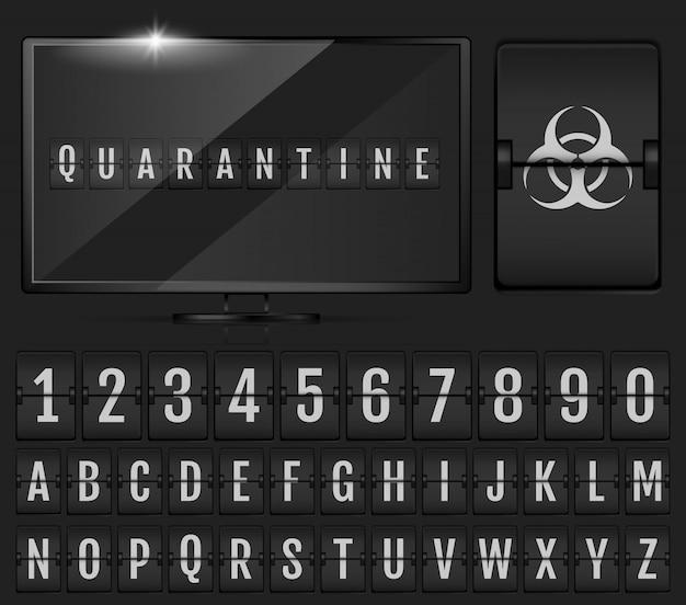 Alphabet de tableau de bord mécanique. alphabet doomsday.