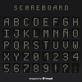 Alphabet de tableau de bord réaliste