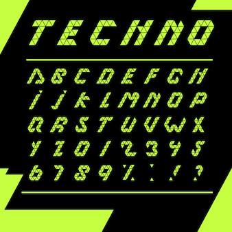 Alphabet techno imprimé fond noir