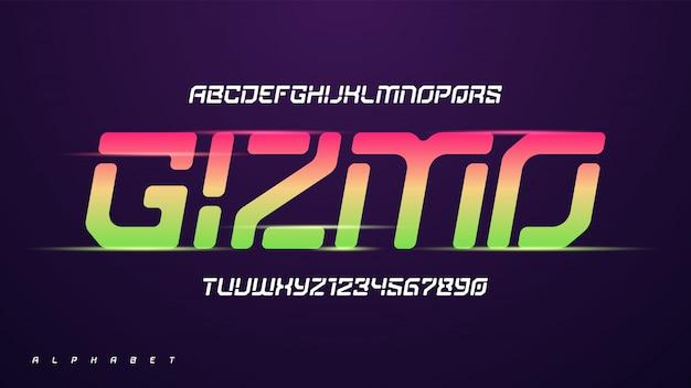 Alphabet de technologie drôle moderne de vecteur, jeu de caractères créatifs