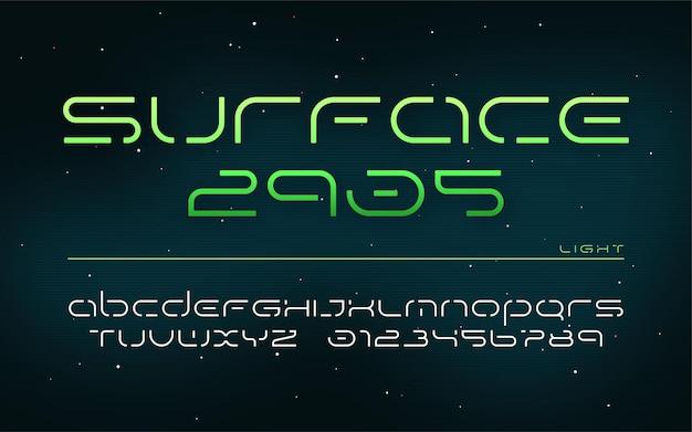 Alphabet de technologie futuriste de science-fiction, lettres majuscules et chiffres.