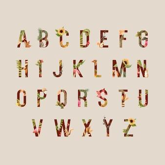 Alphabet avec thème automne