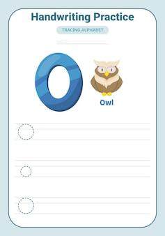 Alphabet traçage pratique lettre o. feuille de travail de traçage. page d'activité d'apprentissage de l'alphabet.