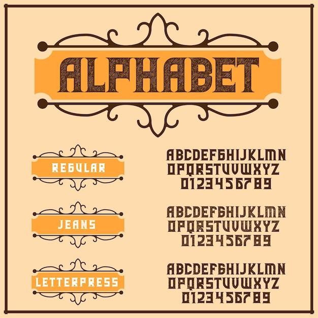 Alphabet de typographie de police rétro vintage