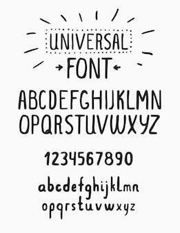 Alphabet universel de police simple avec des chiffres en lettres minuscules et majuscules pour votre conception
