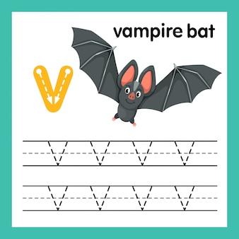 Alphabet v exercice avec illustration de vocabulaire de dessin animé, vector
