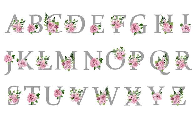 Alphabet de vacances complet avec de délicates fleurs aquarelles roses