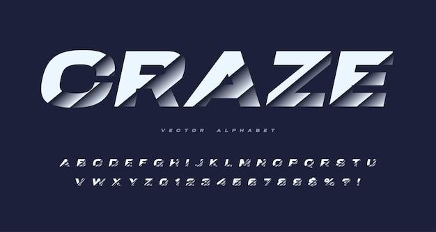 Alphabet de vecteur sans empattement en tranches, police de coupe, jeu de lettres et de chiffres.