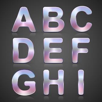 Alphabet vector argent métallisé.