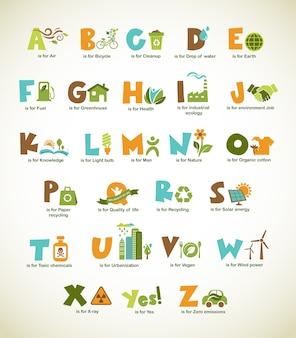 Alphabet vert écologie avec collection d'éléments
