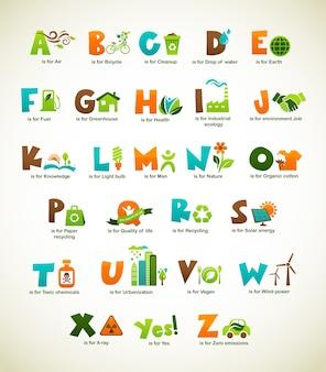 Alphabet vert écologie avec illustrations
