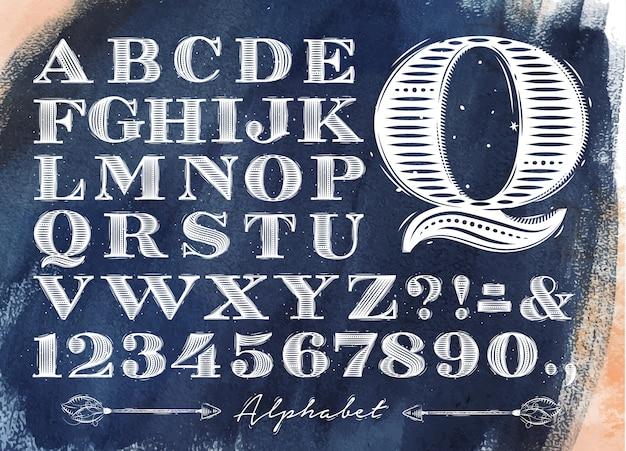 Alphabet vintage bleu