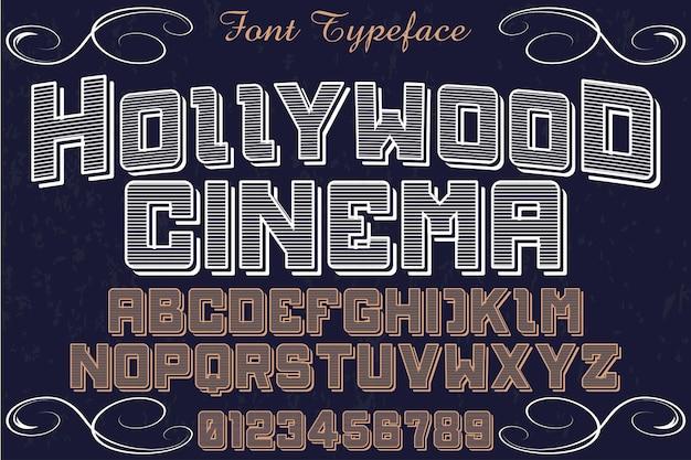 Alphabet vintage étiquette design hollywood