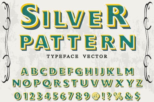 Alphabet vintage style graphique argent