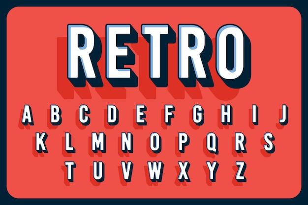 Alphabet vintage en trois dimensions