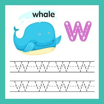 Alphabet w exercice avec illustration de vocabulaire de dessin animé, vector