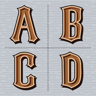 Alphabet western lettres vintage (a, b, c, d)