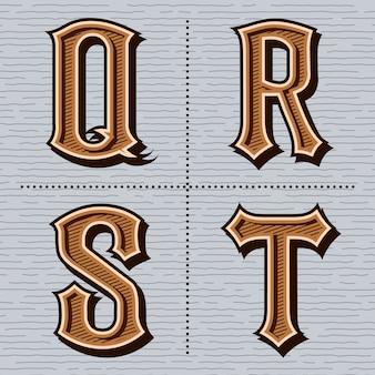 Alphabet western lettres vintage (q, r, s, t)