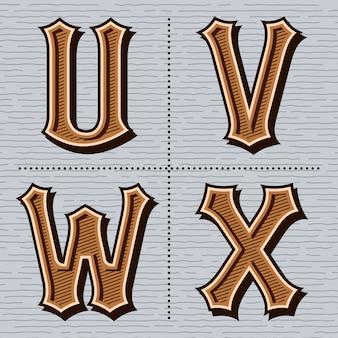 Alphabet western lettres vintage (u, v, w, x)