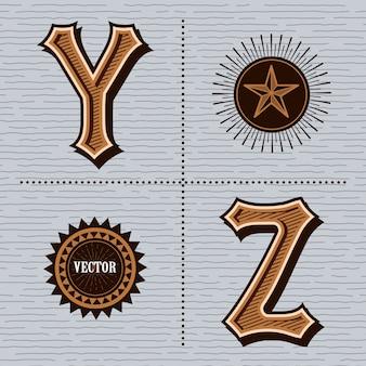 Alphabet western lettres vintage (y, z)