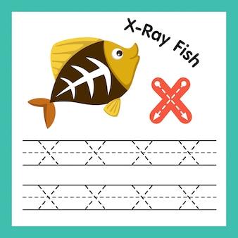 Alphabet x exercice avec illustration de vocabulaire de dessin animé, vector