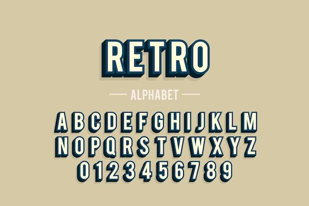 Alphabet de a à z au design rétro 3d