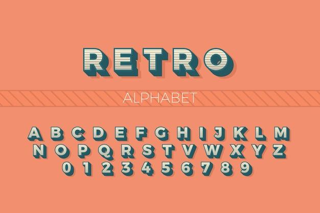 Alphabet de a à z dans un style rétro 3d