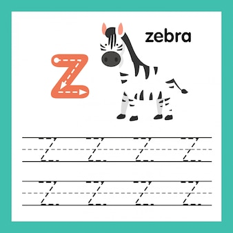 Alphabet z exercice avec illustration de vocabulaire de dessin animé, vector