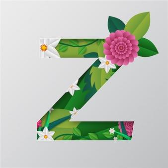 Alphabet z fait par des fleurs et des feuilles avec un style de papier découpé.