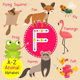 Alphabet de zoo de lettre f