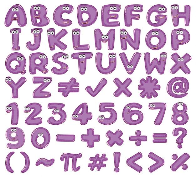 Alphabets anglais et chiffres en violet