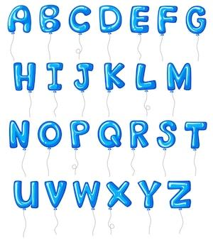 Alphabets de ballons de couleur bleue