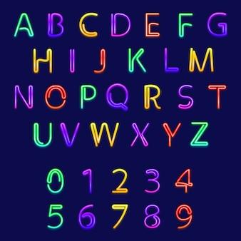 Alphabets et chiffres au néon