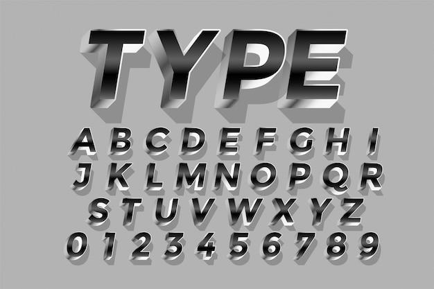 Alphabets de conception d'effet de texte brillant argent style 3d