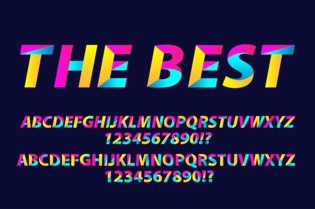 Alphabets de polices de typographie colorée