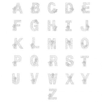 Alphabets stylisés, livre de coloriage pour les enfants.