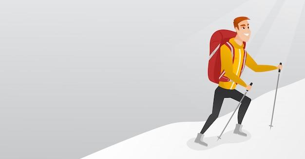Alpiniste caucasien escalade une crête enneigée.