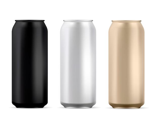 Aluminium peut blanc. boîte ronde à soda isolée