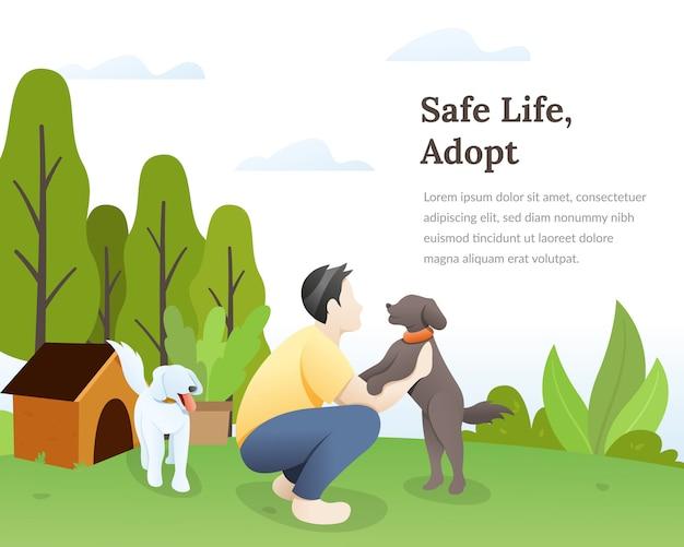 Amant de chien avec son illustration d'animaux de compagnie