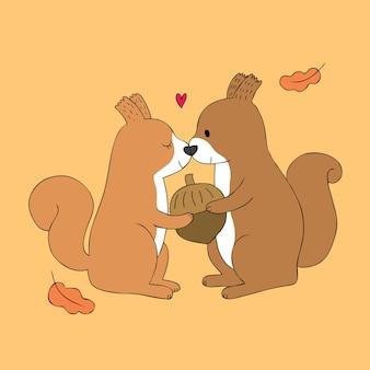 Amant d'écureuils mignon de dessin animé et vecteur de gland.
