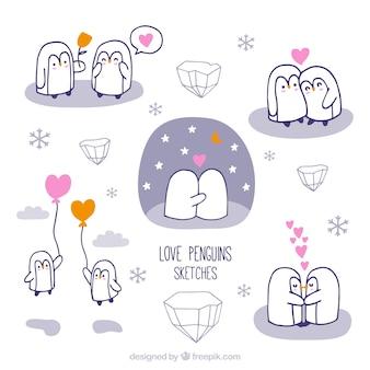 Amants de pingouin dessinés à la main mignon