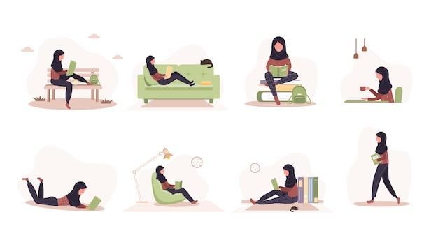 Amateurs de livres. arabe lisant des femmes tenant des livres. préparation à l'examen ou à la certification. concept de bibliothèque de connaissances et d'éducation, lecteurs de littérature. ensemble d'illustration dans un style plat.