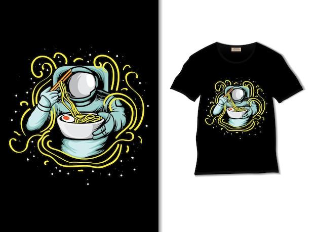 Amateurs de nouilles astronautes avec un design de t-shirt
