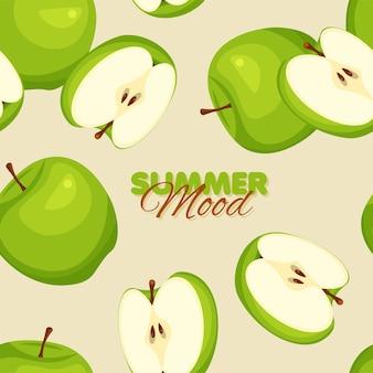 Ambiance estivale de modèle sans couture de pomme verte