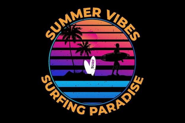 Ambiance estivale surf paradis coucher de soleil style rétro