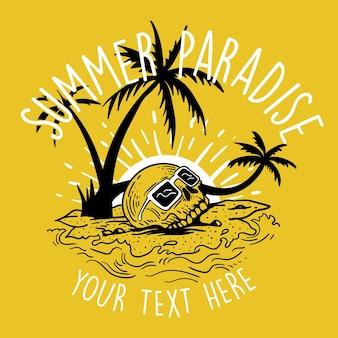Ambiance estivale avec surf squelette